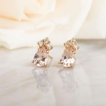 14kt Pink Morganite and Diamond Studs