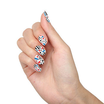Confused Dalmatian Abstract Shapes Patterns Stripes Dots Black Blue Red Nail Wraps (Set of 22)