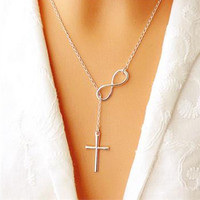 New Infinity Cross Pandent Necklace Women Girl Wedding Event Necklace = 1933029124