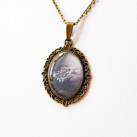 House Stark of Winterfell Crest - Game of Thrones - A Song of Ice and Fire - Handmade Vintage Cameo Pendant Necklace