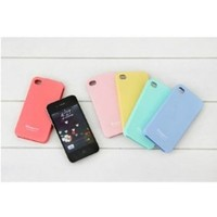 Hk Profusion Candy Color Silicone Rubber TPU Protective Case for iPhone 4/4G/4S - Peach Red