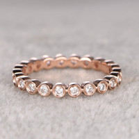 1.5mm Round Diamond Wedding Ring,Solid 14K Rose gold,Anniversary Ring,Full Eternity Band,Bezel Set,Infinity,stacking Ring,Matching band
