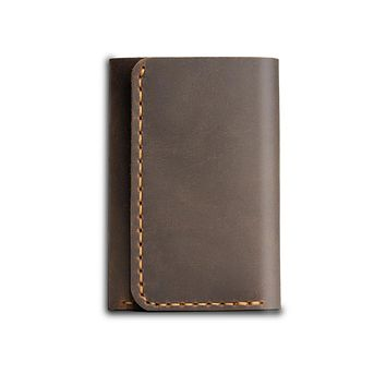 Brown Trifold Leather Compact Key Wallet