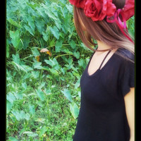 Large, dark, red, rose , crown, flowercrown, flower, lana, del, rey, festival renaissance, woddland, frida, kahlo, grateful, dead, day