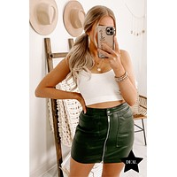 No Mistake Faux Leather Mini Skirt (Dark Olive)