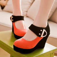 Shoes Women Pumps Autumn Mary Jane Casual Platform Shoes Wedges Heels Flock Sequined Beige Red Plus Size 41 42 43 1-A0A