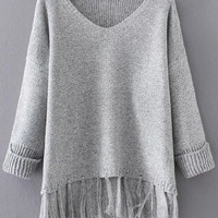 Grey V Neck Rolled Cuff Fringe Hem Sweater