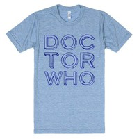 Doctor Who (Typography)-Unisex Athletic Blue T-Shirt