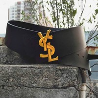 YSL Popular Women Personality Smooth Buckle Versatile Leather Belt Black