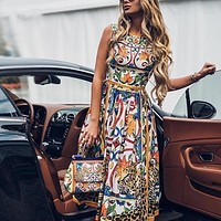 2020 new arrival women's retro fashion temperament printed dress