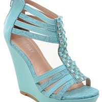 Rhinestone Gladiator Caged Strappy Platform Women's Wedges