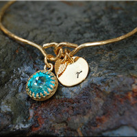 December Birthstone Bangle bracelet, Personalized Turquoise bracelet, Gift for Mom, Birthstone Jewelry, Gold bangle, Mother's Day Gift