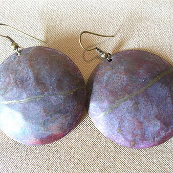 Vintage 80's Large Distressed Burgundy & Gold Disc Dangle Earrings, Retro Tribal Southwestern Inspired Fashion Jewelry Bold Ladies Gift Idea
