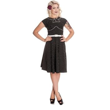 Hell Bunny Black and White Polka Dot Cap Sleeve Noreen Dress