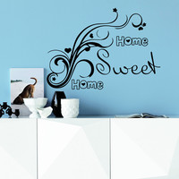 Wall Decal Quotes Home Sweet Home Flower Silhouette Design Vinyl Decals Living Room Bedroom Hotel Hostel Window Stickers Home Decor 3762