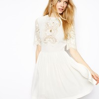ASOS Pretty Skater Dress With Lace Panels