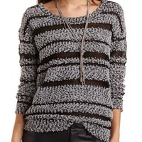 Striped Popcorn Knit Tunic Sweater by Charlotte Russe - Black Combo