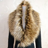 Women Winter Warm Soft Faux Fur Collar Scarf Shawl Wrap Stole New = 1932005380