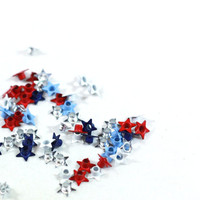 50 Red, White, Blue, and Silver Square Metal Grommets for scrapbooking, cardmaking, or crafting