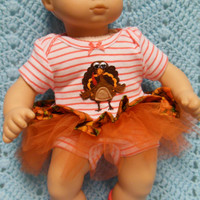 """AMERICAN GIRL Bitty Baby Clothes """"Gobble,Gobble"""" (15 inch) Thanksgiving doll outfit top dress diaper cover booties/ socks and headband"""