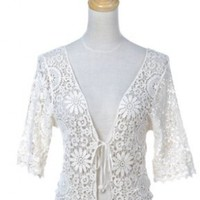 Anna-Kaci S/M Fit Beige Off-White Hippie Floral Bubble Crochet Shrug Cardigan
