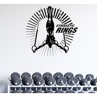 Wall Decal Gymnastics Rings Acrobat Word Sports Vinyl Sticker (ed2013)