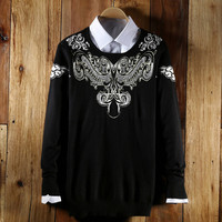 Tribal Print Knitted Pullover Sweater