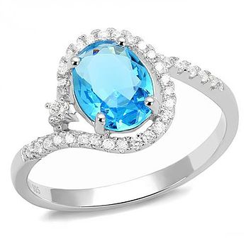 Sterling Silver Cubic Zirconia Ring 3W1393 Rhodium 925 Sterling Silver Ring