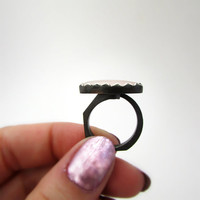 Rose Quartz Ring, Pink Ladies Ring, Oxidized Ring, Black, Geometrical, Open Ring, 3 Dimensional Ring