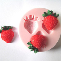 Three Holes Strawberry Grape fruit Silicone Mold Fondant Molds Sugar Craft Tools Chocolate Mould For Cakes