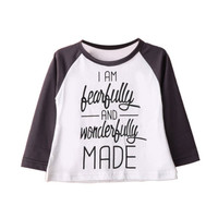 Baby Girls Letter Print T-Shirt Winter Toddler Long Sleeve Tops Blouse Autumn Cotton T shirt Girls Clothing Spring 1-6Y Lovely