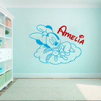 Name Wall Decal Minnie Mouse Girl Personalized Name Sticker Sweet Dreams Vinyl Decal Art Mural Bedroom Interior Design Nursery Decor KY148