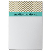 Gold Chevron Stripes with Mint Post-it® Notes