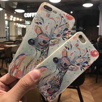 Hand-painted Deer Case for iPhone 7 7Plus & iPhone se 5s 6 6 Plus Cover +Gift Box-200