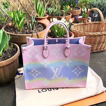 LV Louis Vuitton Hot Sale Gradient Color Print Letter Shoulder Bag Messenger Bag Shopping Bag