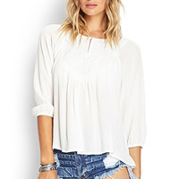 FOREVER 21 Embroidered Peasant Top Ivory/White