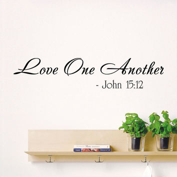 Wall Decal Quotes Bible Verses Psalms John 15:12 Love One Another Design Vinyl Decals Bedroom Living Room Nursery Playroom Home Decor 3804