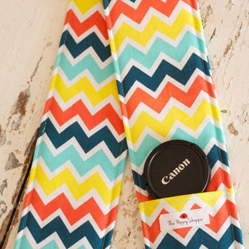 Camera Strap Cover DSLR lens cap pocket and by shopthepoppyshoppe