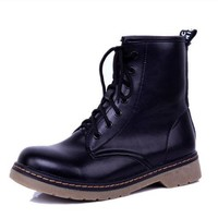 Women Motorcycle Boots Fashion Winter Vintage Combat Army Punk Goth Ankle Shoes