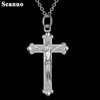 Seanuo Inifinity 925 silver lord jesus cross pendant necklace jewelry men fashion hippie Christ choker necklace for women bijoux