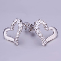 jewerly 18K Gold Plated Earing mk hollow heart stud earrings brincos SMTPE341 MP