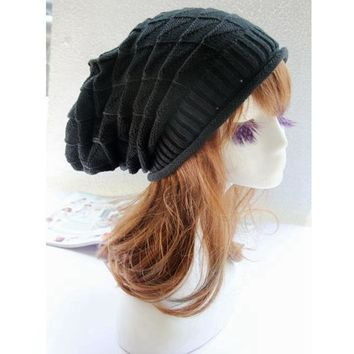 Winter Warm Women  Baggy Beanie Knit Crochet Ski Cap Oversized Slouch Hat