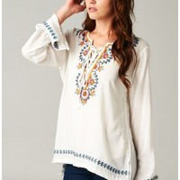 Sydney Embroidered Top-Ivory