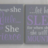 Girl Baby Wall Art Sign Set Painted in Light Purple, Linen (off white) and Gray, (10 to 16 Inches Square)
