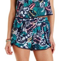High-Waisted Tropical Print Tulip Shorts