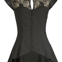 Carmen Black Blouse with Lace by Chicstar