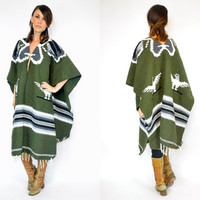 reversible THUNDERBIRD boho fringed mexcican BLANKET PONCHO cape coat, one size fits all