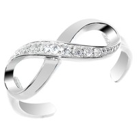 925 Sterling Silver CZ Infinity Toe Ring