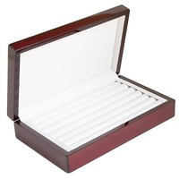 Caddy Bay Collection Rosewood Color Glossy Finish Jewelry Ring Case Display Cuff Links Body Jewelry Storage Box With Ring Rows