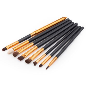 8Pcs/set Professional Eye Brushes Set Eyeliner Shadow Blend Pencil Makeup Brush 2 Colors